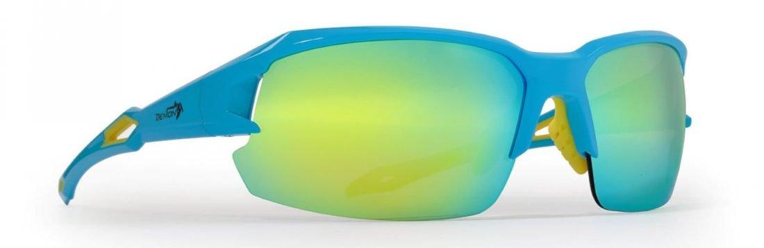 Occhiale per ciclismo su strada con lenti specchiate intercambiabili modello TIGER colore azzurro