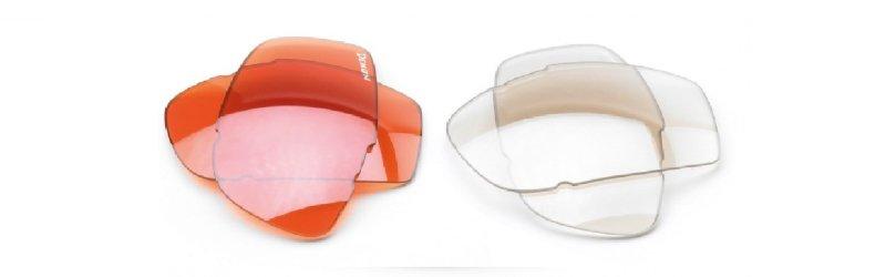 lenti colorate arancio e trasparente per giocare a golf