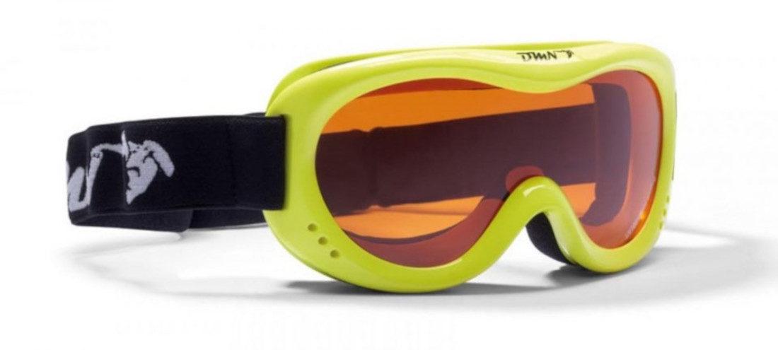 maschera per sci da bambino giallo fluo lente singola arancio