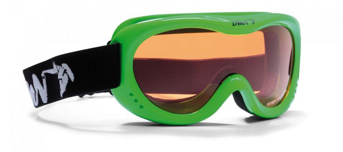 maschera da sci per bambino con lente singola verde fluo