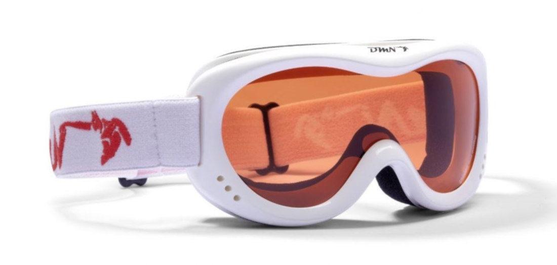 maschera da sci per bambini bianco lucido lente arancio