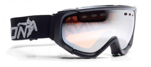 Maschera da neve con lente arancio specchiata nero opaco
