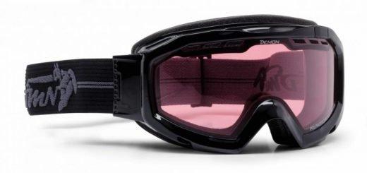 maschera da neve per sci e snowboard fotocromatica polarizzata nero lucido