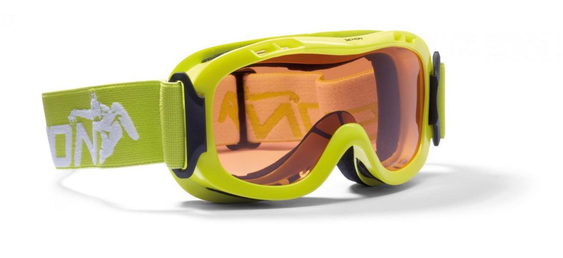 maschera da neve per bambino giallo fluo con doppia lente