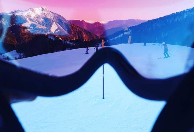 Maschera da sci fotocromatica polarizzata per ogni condizione atmosferica colore rosa
