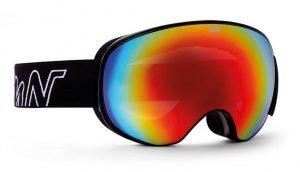 maschra da sci con lente magnetica colore nero e lente specchiata rossa