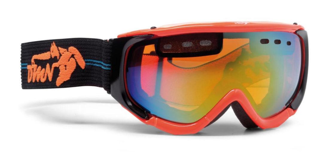maschera per sci freestyle arancio fluo doppia lente
