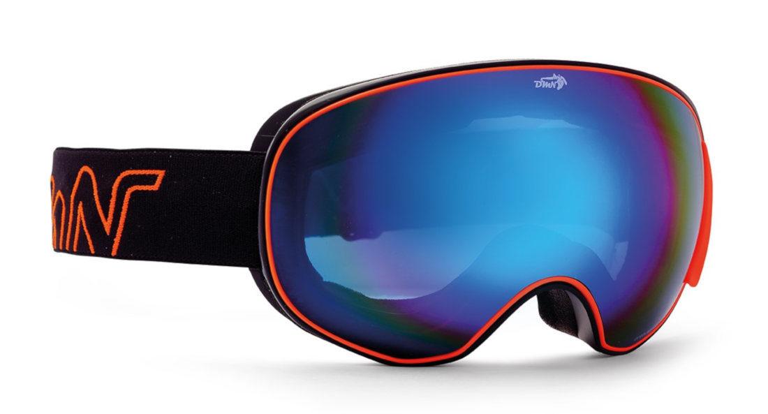 maschera da snowboard con lente magnetica arancio fluo