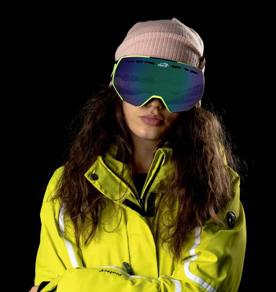 Maschera da snowboard donna per occhiali da vista modello ALPINER lente specchiata