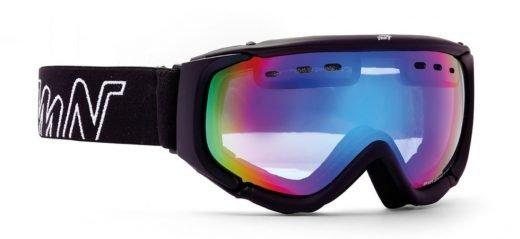 maschera da snowboard con lente arancio specchiata nero opaco