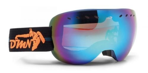 maschera da snowboard lente specchiata blu