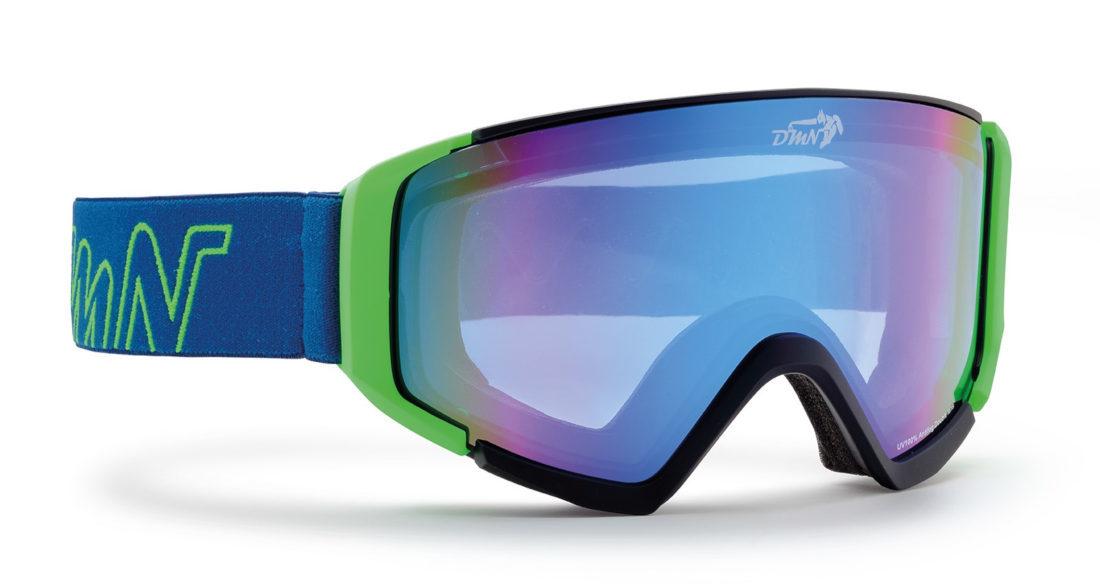 Maschera da uomo per sci e snowboard nero opaco verde lente specchiata