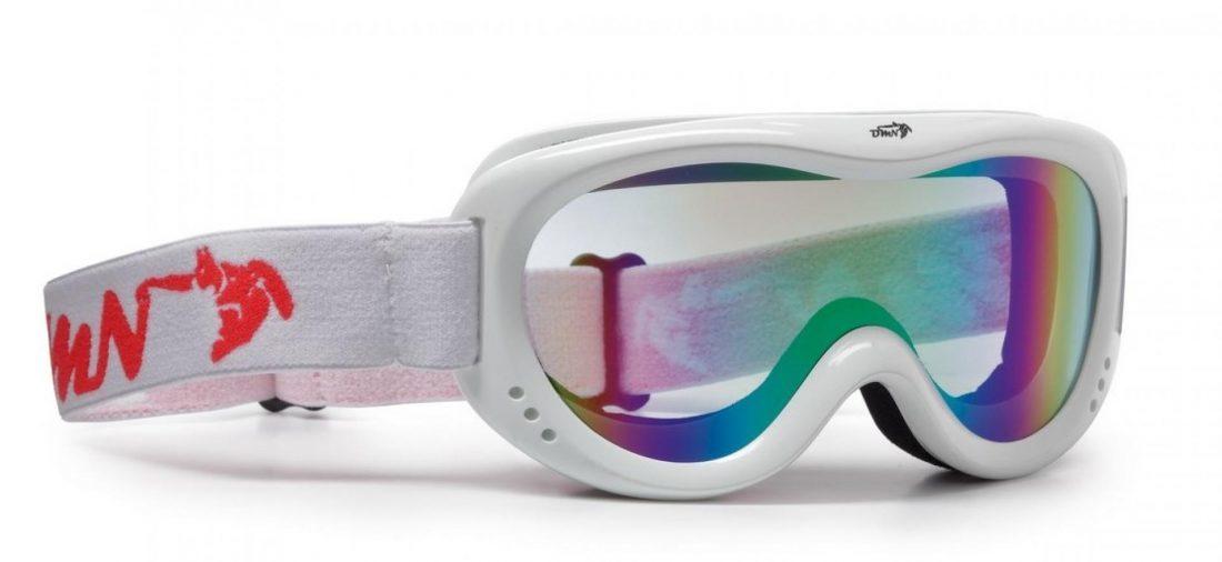 maschera da neve per bambino con lente specchiata blu colore bianco lucido