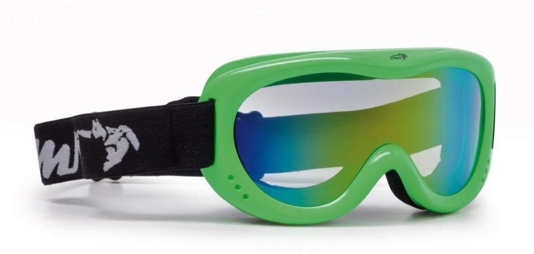 maschera da sci per bambino verde fluo lente specchiata verde