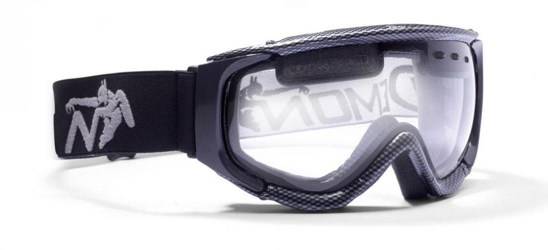 Maschera per downhill e sci notturna con lente trasparente colore carbonio