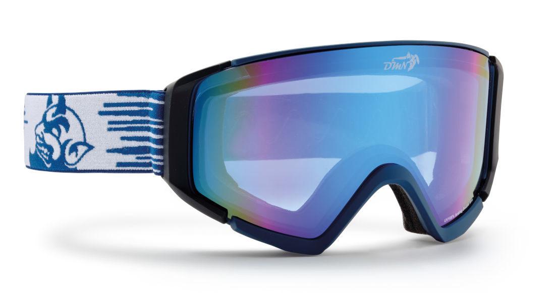 Maschera per sci fuoripista con lenti specchiate blu
