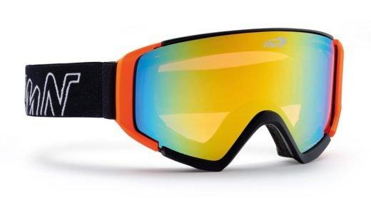 maschera da snowboard con lente super specchiata gialla