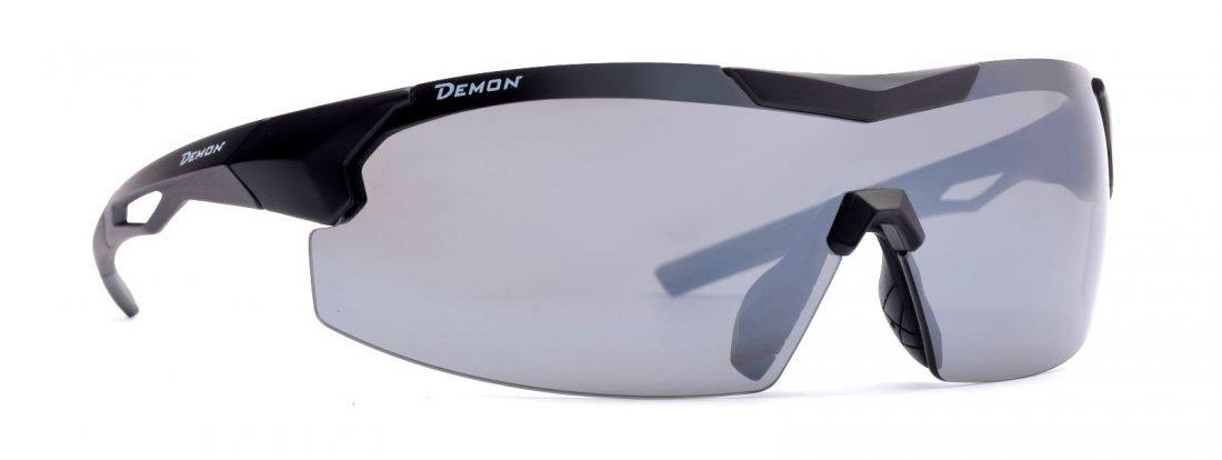 Occhiale a mascherina per ciclismo su strada lenti intercambiabili specchiate modello visual nero opaco
