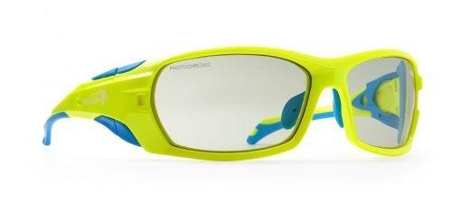 occhiale da alpinismo giallo fluo con lenti fotocromatiche