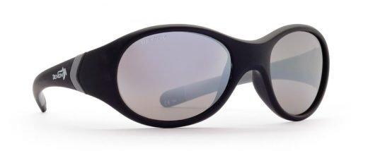 Occhiale da bambino per montagna nero gommato lente specchiata argento