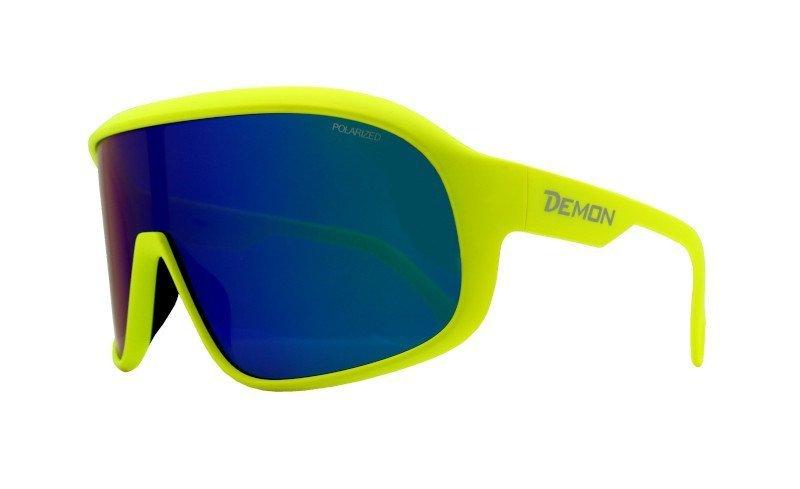 occhiale polarizzato per ciclismo giallo fluo a mascherina modello crash