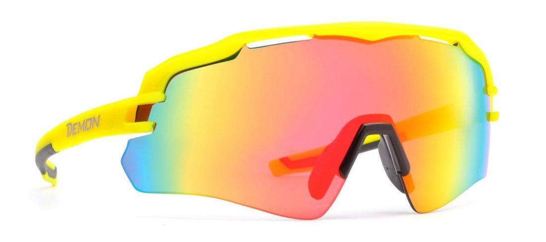 occhiale da ciclismo monolente giallo fluo