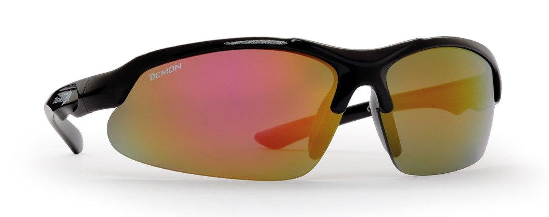 occhiale da ciclismo per bambini con lenti specchiate colore nero lucido kid cycle