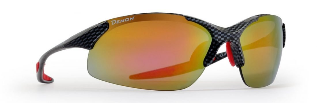 Occhiale da ciclismo per mountain bike con lenti intercambiabili modello 832 carbonio rosso
