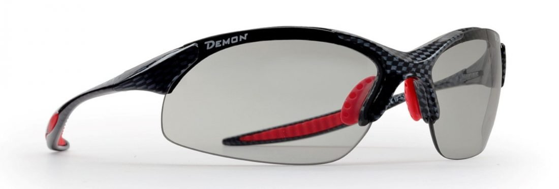 Occhiale da ciclismo per mtb lenti fotocromatiche dchrom modello 832 carbonio rosso