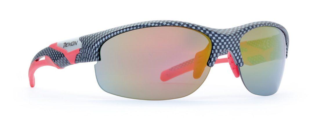 occhiale da corsa con lenti specchiate colore carbonio