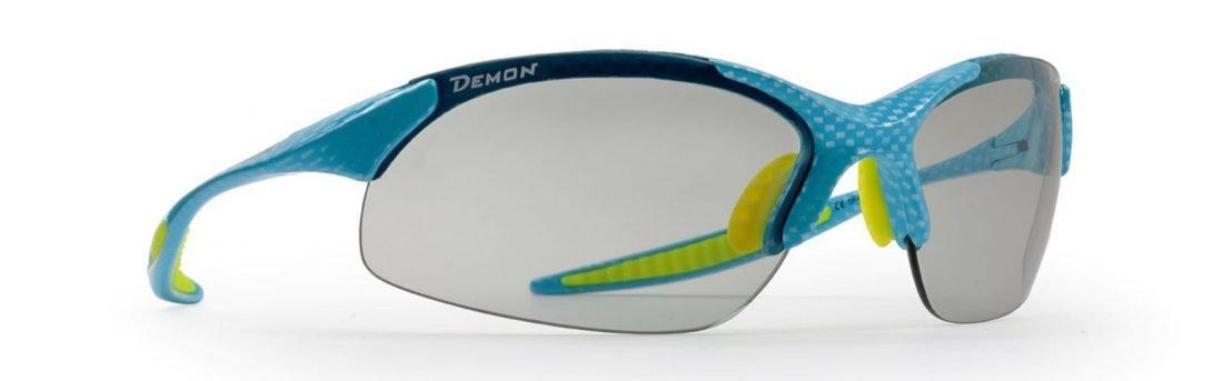 occhiale da donna per ciclismo lenti fotocromatiche dchrom colore carbonio azzurro