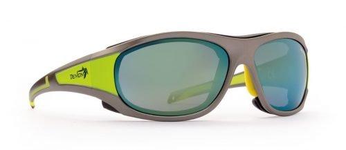 occhiale da ghiacciaio con lenti specchiate grigio giallo