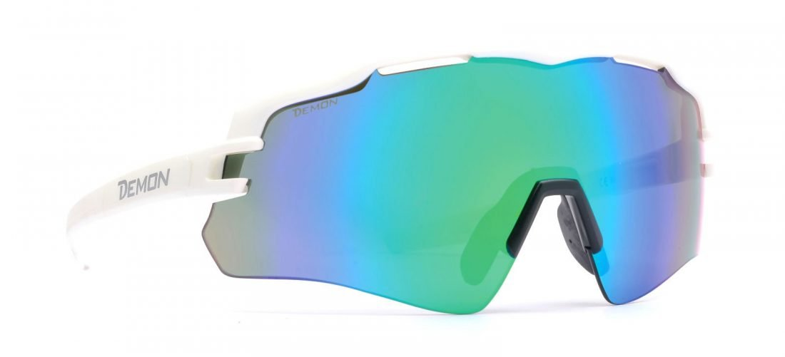 occhiale da running monolente bianco lente specchiata