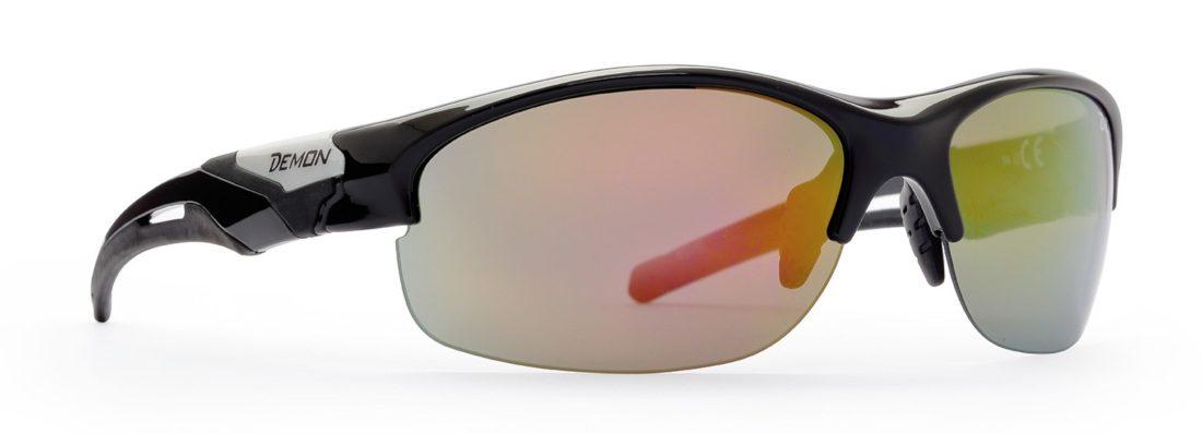 occhiale da running con lenti specchiate colore nero