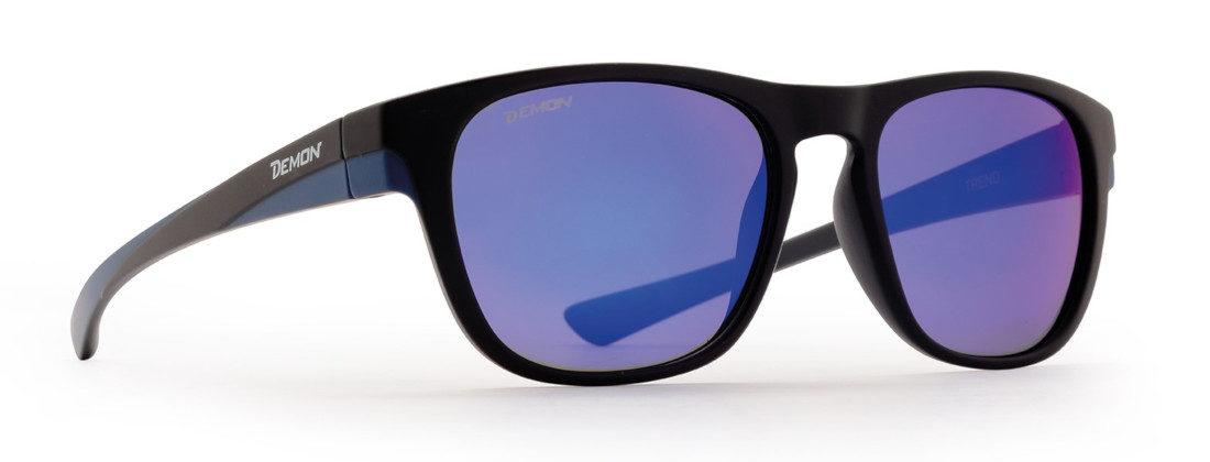 occhiale da sole con lenti specchiate blu modello trend