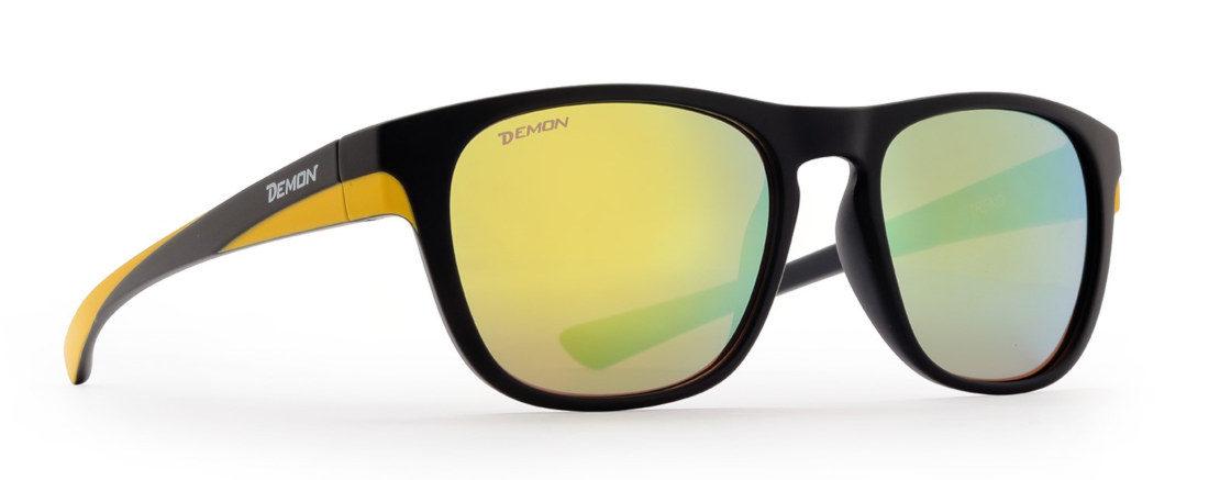 occhiale da sole con lenti specchiate giallo modello trend