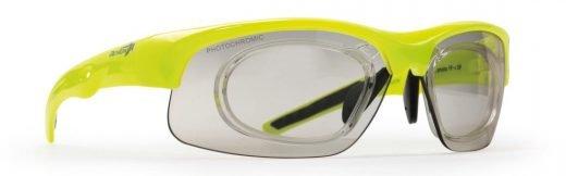 occhiale da vista per ciclismo e running giallo fluo lente fotocromatica dchrom