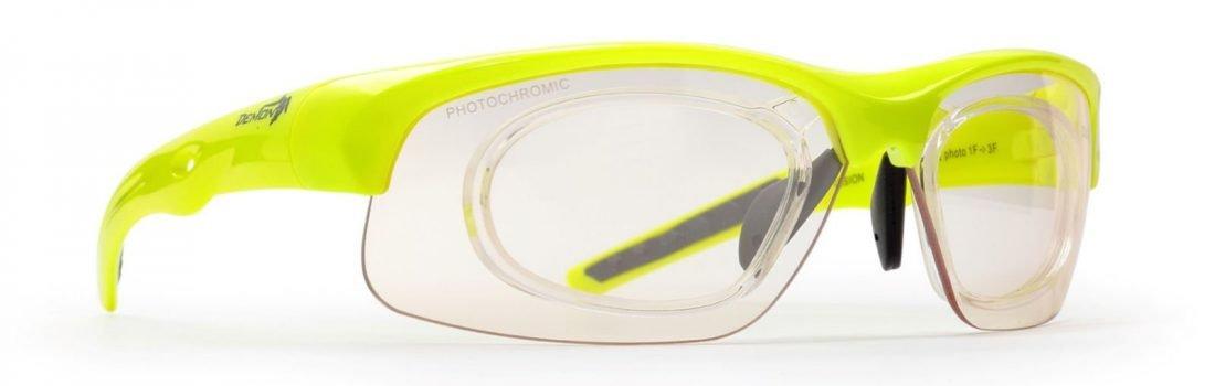 occhiale da vista sportivo per ciclismo su strada e mtb giallo fluo modello fusion