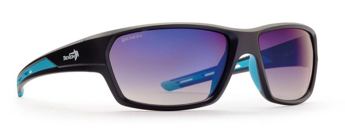 occhiale after sport con lenti specchiate blu nero opaco