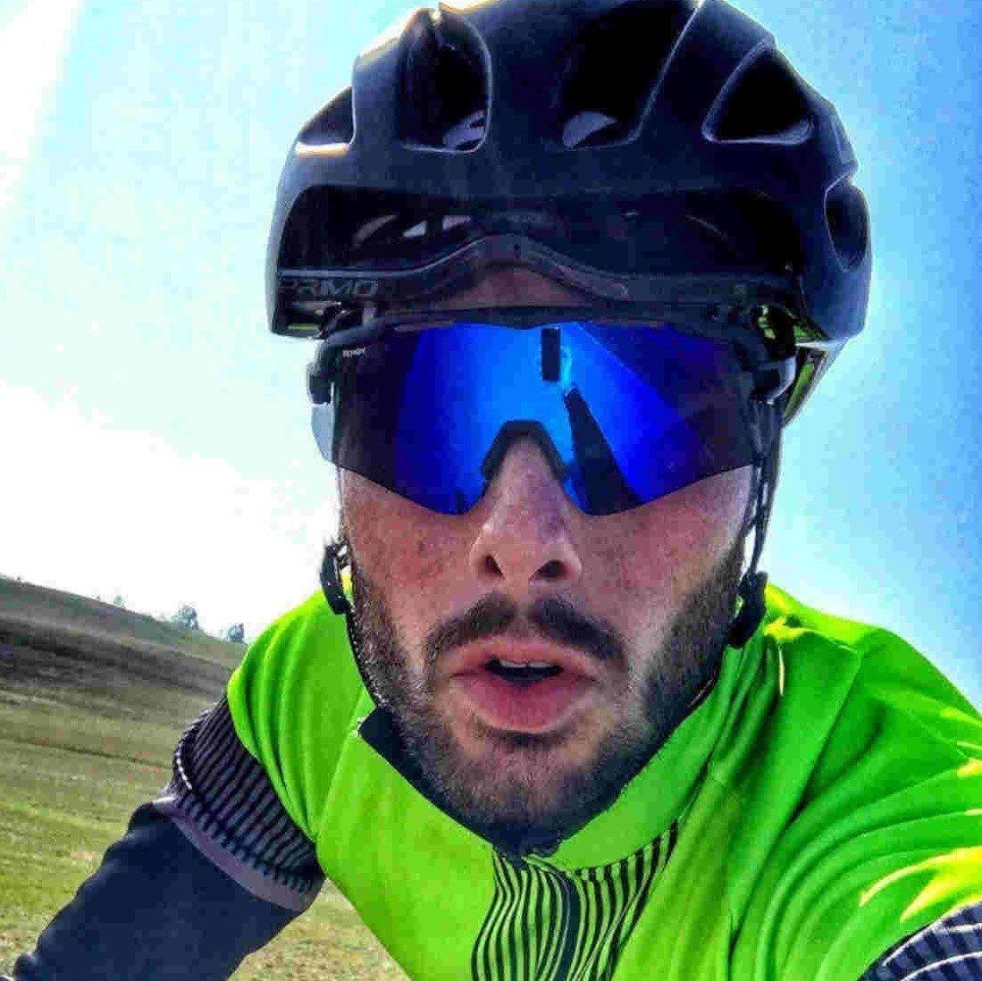 occhiale monolente per bici da corsa lente specchiata