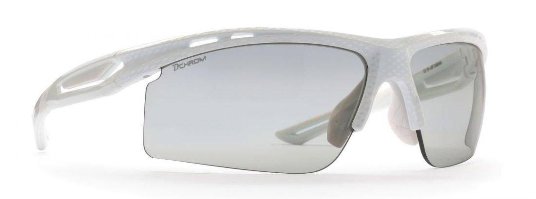 Occhiale per bici da corsa lenti fotocromatiche dchrom modello cabana carbonio bianco