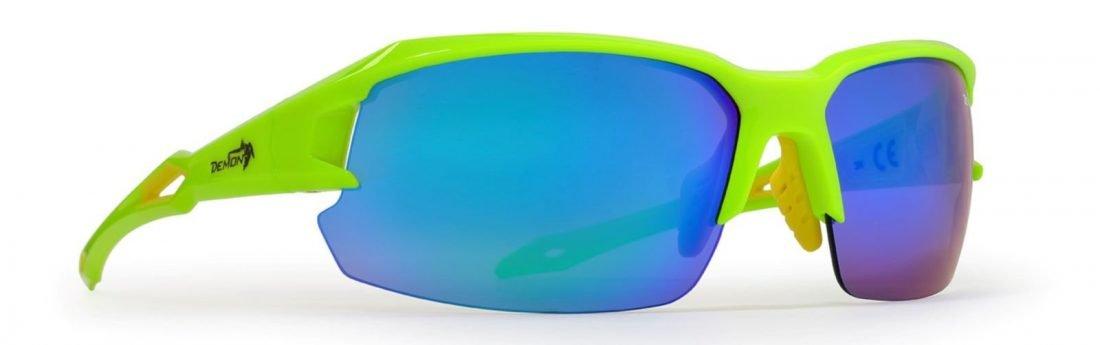 Occhiale per bici da corsa lenti intercambiabili modello tiger lime fluo