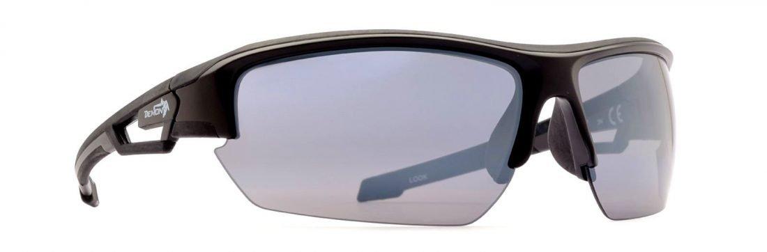 Occhiale per bici da corsa con lenti specchiate modello look nero gommato