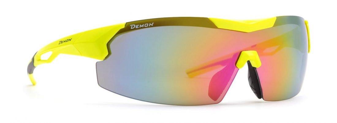 occhiale per ciclismo e running giallo fluo a mascherina lente specchiata