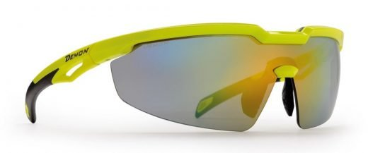 occhiale per ciclismo su strada e triatlon giallo fluo lente specchiata