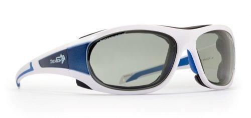 occhiale per escursionismo in ghiacciaio con lenti fotocromatiche colore bianco blu
