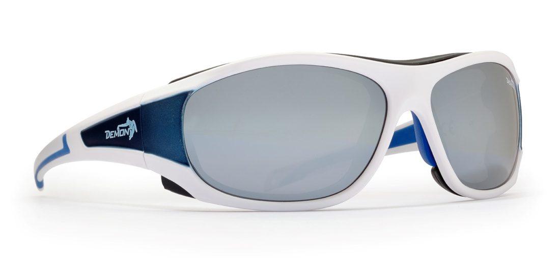 occhiale per ghiacciaio bianco con lenti specchiate argento categoria 4