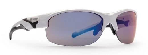 occhiale sportivo per corsa con lenti specchiate bianco