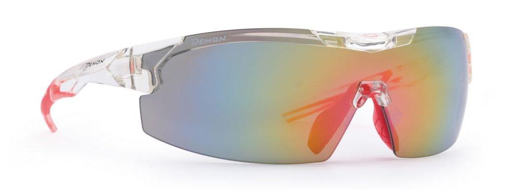 Occhiale per triatlon e bdc monolente lente specchiata intercambiabile modello visual colore cristallo