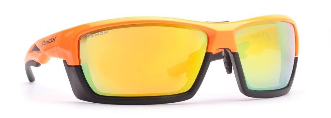 occhiale per tutti gli sport lenti specchiate colore arancio